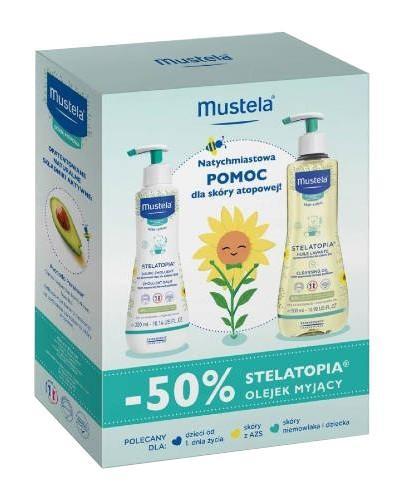Mustela stelatopia olejek myjący 500 ml + krem emolient do twarzy 300 ml [ZESTAW]