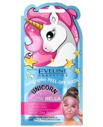 Eveline Unicorn Glow Bella holograficzna maseczka pell-off matująco oczyszczająca 7 ml