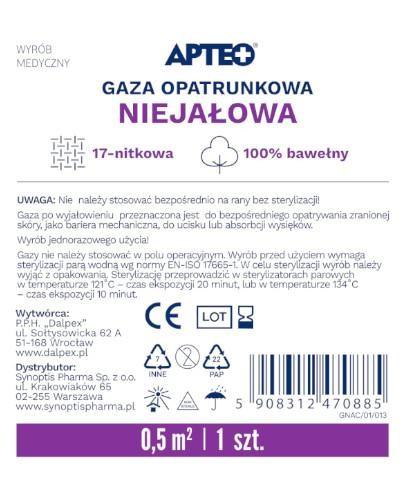 Apteo Care niejałowa gaza opatrunkowa 0,5m x 0.5m 1 sztuka