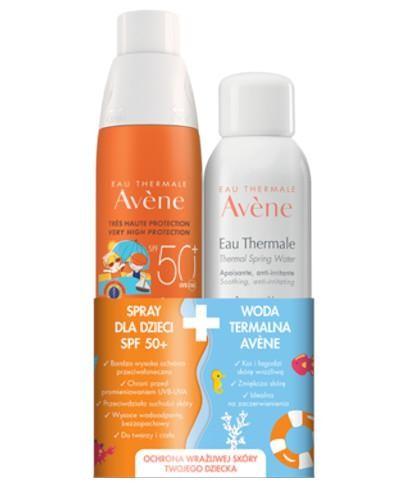 Avene Spray dla dzieci SPF 50+ 200 ml + Avene Woda termalna 50 ml [ZESTAW]