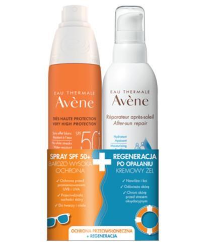 Avene Spray SPF 50+ 200 ml + Avene kremowy żel Regeneracja po opalaniu 200 ml [ZESTAW]