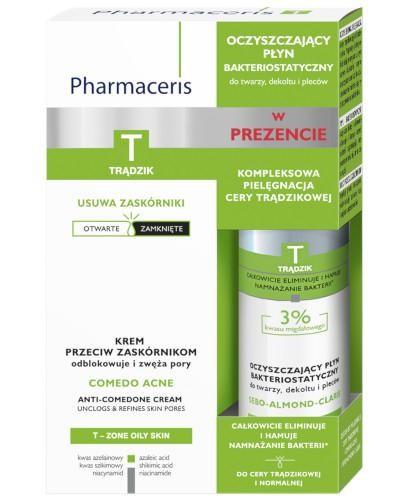 Pharmaceris T Comedo Acne krem przeciw zaskórnikom 40 ml + płyn oczyszczający bakterios...