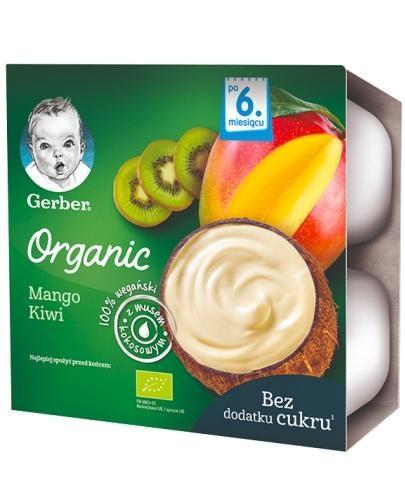 Nestlé Gerber Organic Mango Kiwi deserek z musem kokosowym dla dzieci 6m+ 4 x 90 g