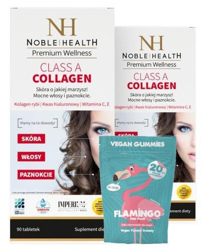 Noble Health Class A Collagen kolagen 2x 90 tabletek + Flamingo Hair Food żelki 20 sztuk