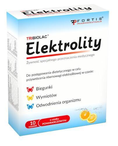 Tribiolac elektrolity o smaku pomarańczowym 10 saszetek