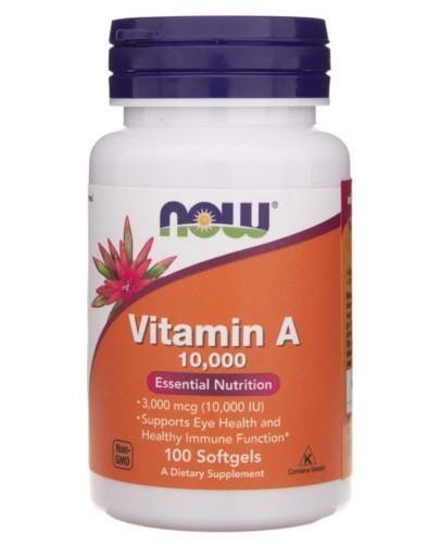 NOW Foods Vitamin A 10000 IU 100 kapsułek miękkich