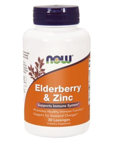 NOW Foods Elderberry & Zinc (cynk i czarny bez) 30 tabletek do ssania