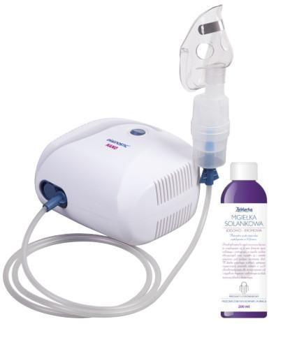 Diagnostic Nano inhalator kompresorowy tłokowy 1 sztuka + mgiełka solankowa 200 ml [ZEST...
