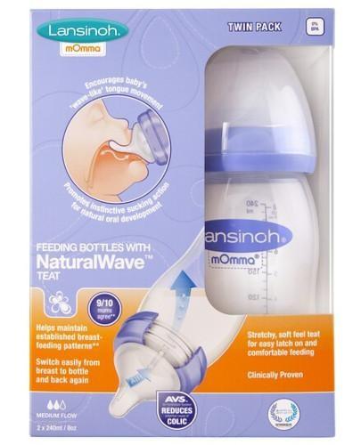Lansinoh butelka do karmienia dla niemowląt ze smoczkiem NaturalWave 2x 240 ml