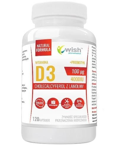 Wish Witamina D3 4000 IU + Prebiotyk 120 kapsułek  whited-out