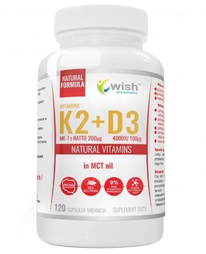 Wish Witamina K2 MK-7 z Natto 200 µg + D3 4000 IU 100 µg + Olej MCT 120 kapsułek miękk...