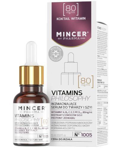 Mincer Pharma Vitamins Philosophy N1005 wzmacniające serum do twarzy i szyi 15 ml