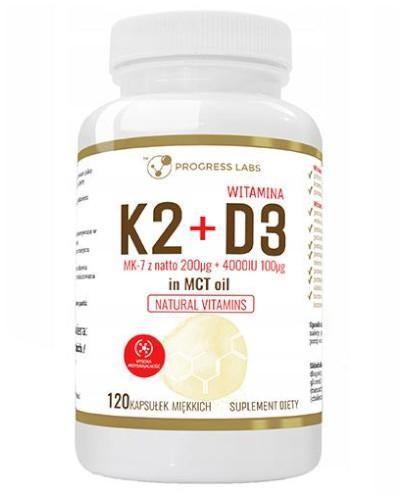 Progress Labs Witamina K2 MK-7 z Natto 200 µg + D3 4000 IU 100 µg + Olej MCT 120 kapsuł...