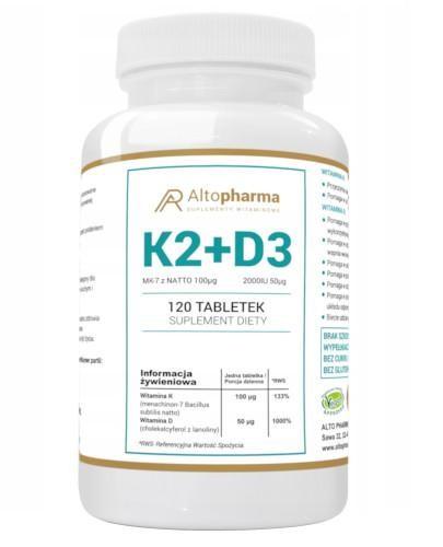 Altopharma Witamina K2 MK-7 z Natto 100 µg + D3 2000I U 50 µg 120 tabletek