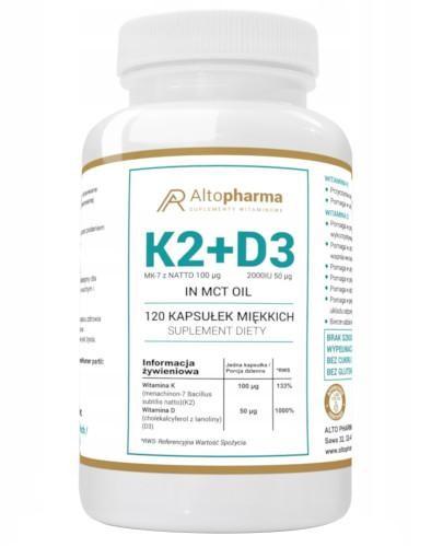 Altopharma Witamina K2 MK-7 z Natto 100 µg + D3 2000 IU 50 µg + Olej MCT 120 kapsułek m...