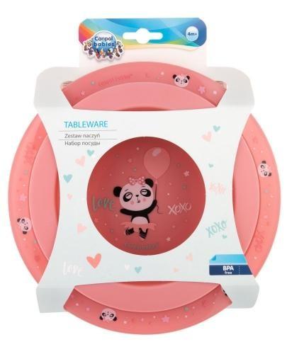 Canpol Babies zestaw naczyń 2 elementy Exotic Animals [56/523_pink]