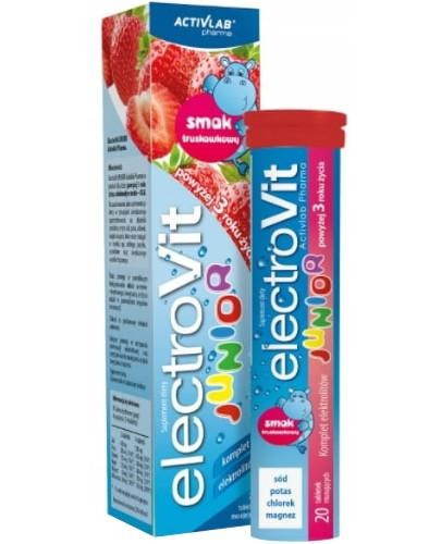 ElectroVit Junior elektrolity o smaku truskawkowym dla dzieci 3+ 20 tabletek musujących