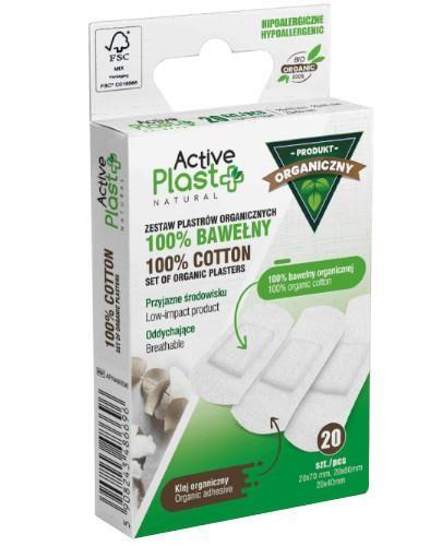 Active Plast BIO zestaw plastrów opatrunkowych ze 100% bawełny organicznej 20 sztuk