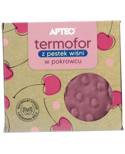 Apteo Termofor z pestek wiśni w różowym pokrowcu 1 sztuka  whited-out