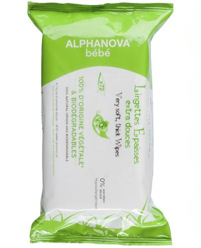 Alphanova Bebe naturalne chusteczki nawilżane 72 sztuki