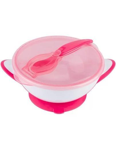 Babyono miseczka dla dzieci i niemowląt z przyssawką i łyżeczką różowa 1 sztuk...
