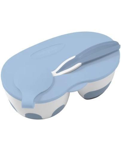 Babyono miseczka dla dzieci i niemowląt dwukomorowa z łyżeczką niebieska 1 sztuk...