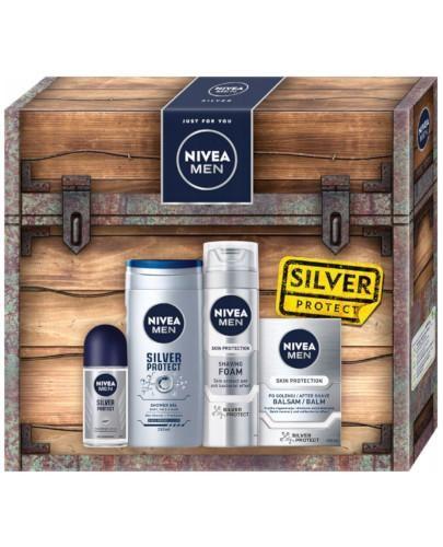 Nivea Men Silver Protect Antyperspirant roll-on 50 ml + Pianka do golenia 200 ml + Żel po...