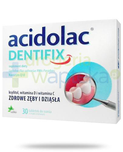 Acidolac Dentifix smak miętowy 30 tabletek do ssania  whited-out