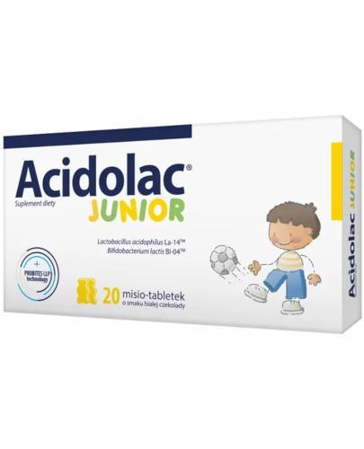 Acidolac Junior o smaku białej czekolady 20 misio-tabletek