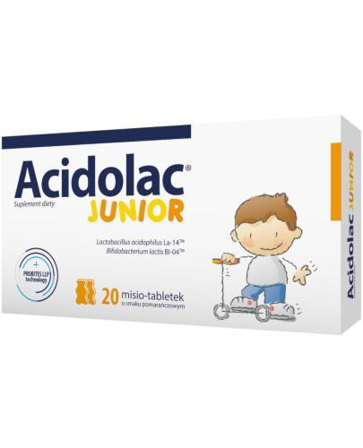 Acidolac Junior o smaku pomarańczowym 20 misio-tabletek  whited-out