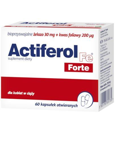 Actiferol Fe Forte bioprzyswajalne żelazo 30mg + kwas foliowy 200µg 60 kapsułek