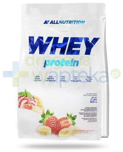 Allnutrition Whey Protein Strawberry Banana odżywka wysokobiałkowa o smaku truskawko ban...