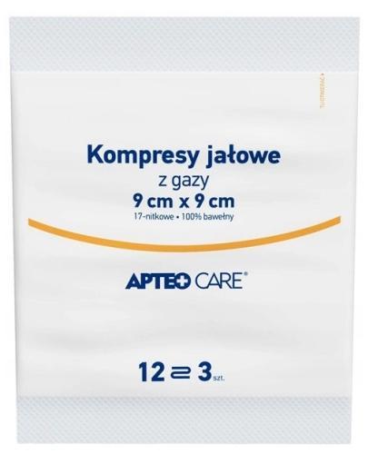 Apteo Care jałowe kompresy z gazy 9cm x 9cm 3 sztuki