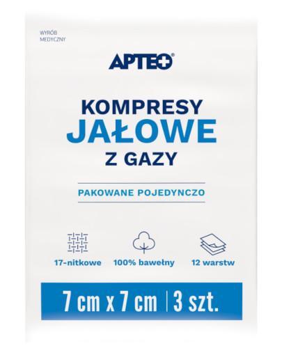 Apteo Care Kompresy jałowe 7 cm x 7 cm 3 sztuk