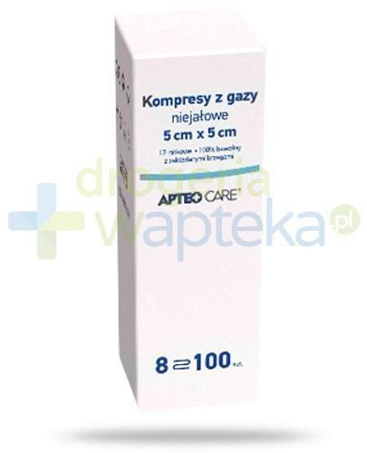 Apteo Care kompresy z gazy niejałowe 17 nitek 5cm x 5cm 100 sztuk