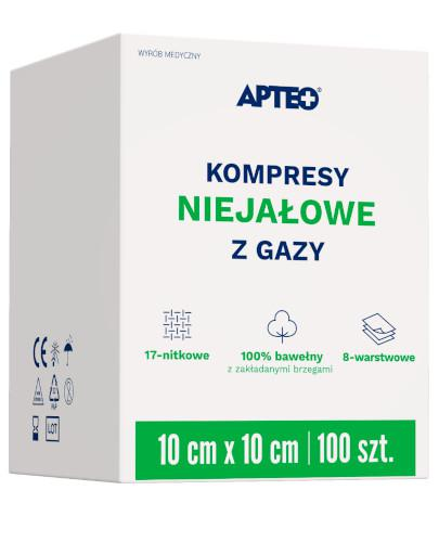 Apteo Care niejałowe kompresy z gazy 10cm x 10cm 100 sztuk