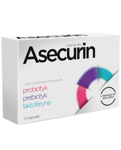 Asecurin probiotyk prebiotyk laktoferyna 20 kapsułek