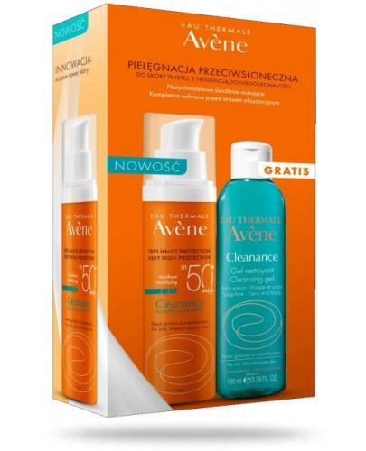 Avene Cleanance Sun SPF50+ krem ochronny 50 ml + Avene Cleanance żel oczyszczający 100 m...  whited-out