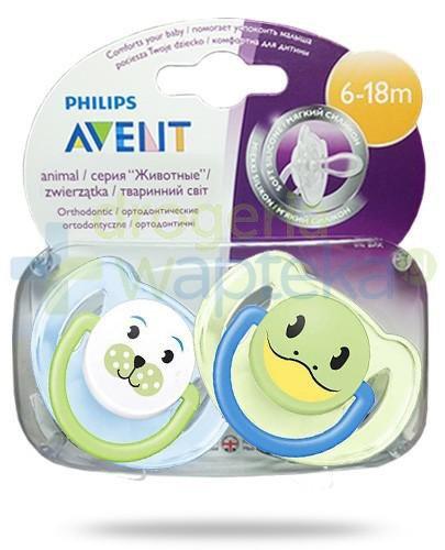 Avent Philips Animal smoczek gryzak silikonowy ortodontyczny dla dzieci 6-18m 2 sztuki [182/24]