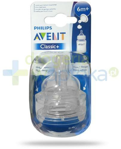 Avent Philips Classic+ smoczek do gęstego pokarmu dla dzieci 6m+ 2 sztuki [SCF636/27]