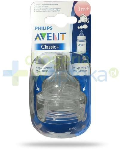 Avent Philips Classic+ smoczek o regulowanym wypływie dla dzieci 3m+ 2 sztuki [635/27]
