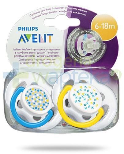 Avent Philips Fashion FreeFlow smoczek gryzak silikonowy ortodontyczny o swobodnym przepływie powietrza dla dzieci 6-18m 2 sztuki [180/24]