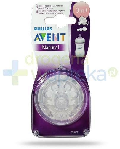Avent Philips Natural smoczek silikonowy o regulowanym wypływie dla dzieci 3m+ 2 sztuki [655/27]