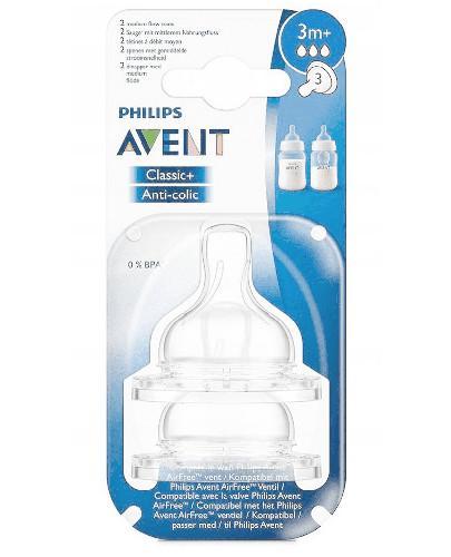 Avent Philips Classic+ smoczek o średnim wypływie dla dzieci 3m+ 2 sztuki [633/27]