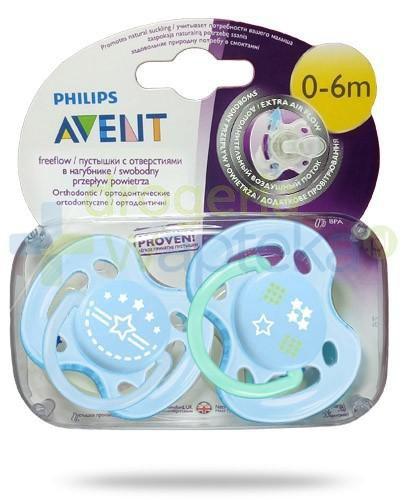 Avent Philips FreeFlow smoczek gryzak silikonowy ortodontyczny o swobodnym przepływie powietrza dla dzieci 0-6m 2 sztuki [172/01]