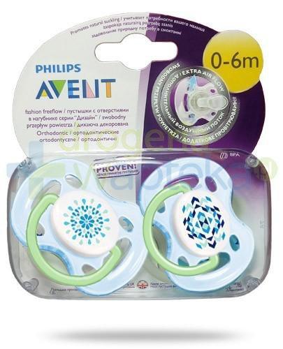 Avent Philips Fashion FreeFlow smoczek gryzak silikonowy ortodontyczny o swobodnym przepływie powietrza dla dzieci 0-6m 2 sztuki [180/23]
