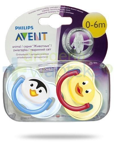 Avent Philips Animal smoczek gryzak silikonowy ortodontyczny dla dzieci 0-6m 2 sztuki [182/23]