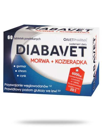 AvetPharma Diabavet Morwa + Kozieradka 60 tabletek powlekanych [Data ważności 31-01-2018]