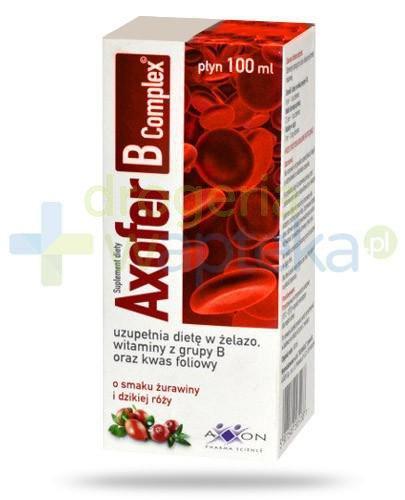 Axofer B Complex płyn o smaku żurawiny i dzikiej róży 100 ml  whited-out