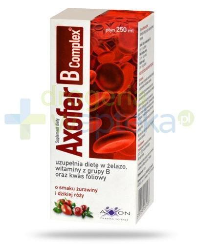 Axofer B Complex płyn o smaku żurawiny i dzikiej róży 250 ml  whited-out